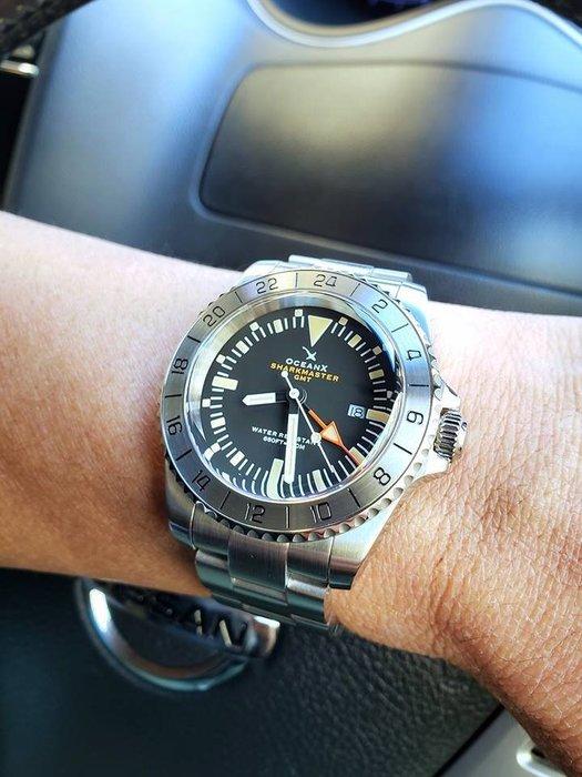 【六樓先生】Sharkmaster GMT-111 復古大錶徑藍寶石鏡面 石英錶  運動錶