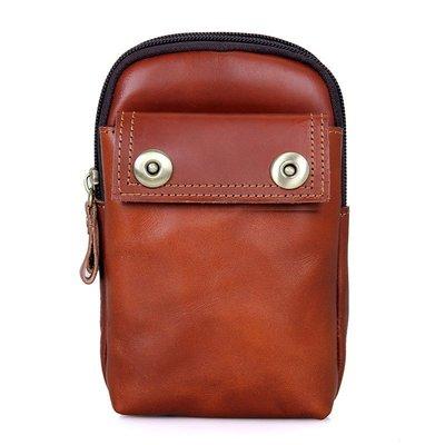 腰包真皮手機包-純色牛皮休閒復古男包包3色73vx14[獨家進口][米蘭精品]
