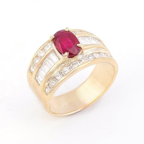 【JHT 金宏總珠寶/GIA鑽石專賣】1.55ct天然紅寶鑽戒/材質:18K(R00023)