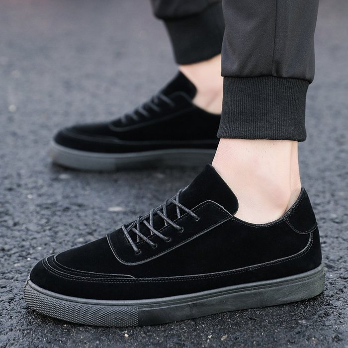 春季男士休閑鞋系帶平底鞋男鞋子韓版純黑鞋板鞋全黑色上班工作鞋