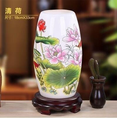 景德鎮陶瓷新中式複古臥室床頭檯燈(清荷 圓坐-不贈送燈泡)