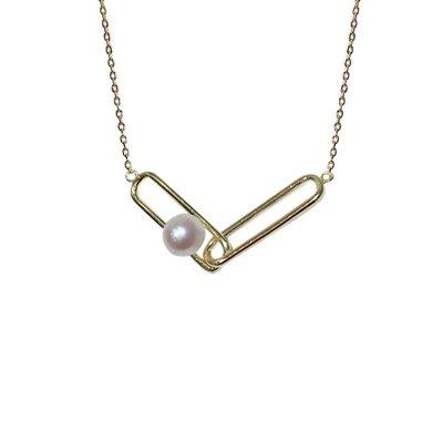 加恩歐美簡約創意設計V字回扣s925銀項鏈 新款淡水珍珠項鏈飾品 跨境12311