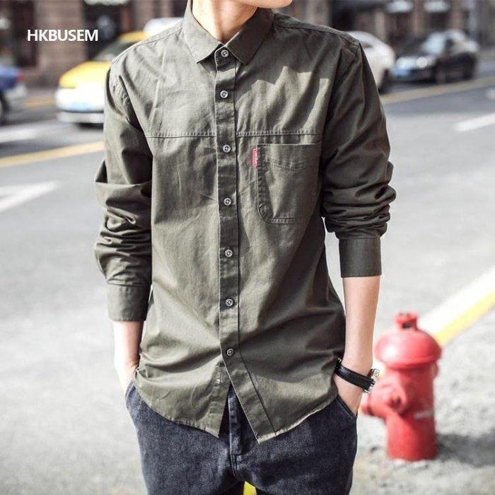 襯衫春季新款男士長袖襯衫韓版修身英倫風襯衣男純色軍綠色寸衫男