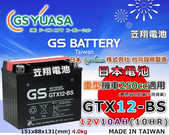 ☼ 台中苙翔電池 ►日本GS YUASA 電池 GTX12-BS (YTX12-BS / FTX12-BS) 重機電池