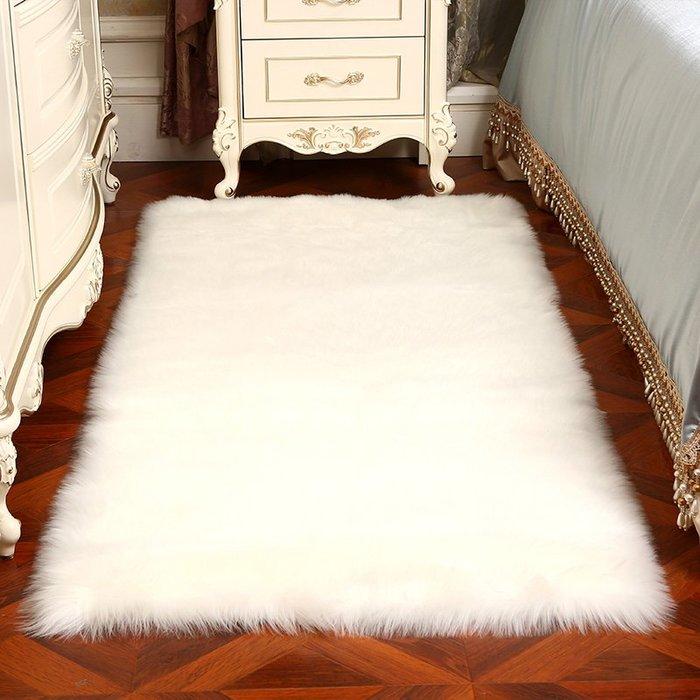 創意 夏季 必備白色長毛絨地毯臥室客廳床邊房間滿鋪可愛仿羊毛飄窗地墊櫥窗裝飾