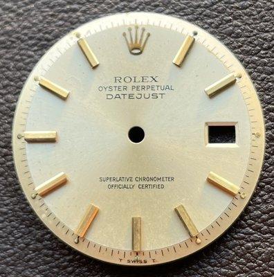 罕見勞力士 Rolex 原廠 1600 1601 1603 K金時標面盤(黃K金掃把頭與時標、銀色面)