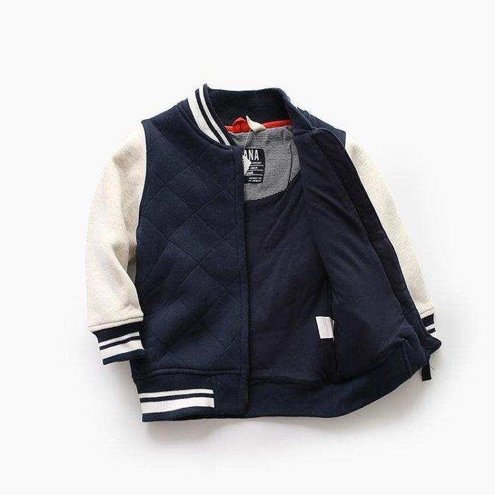 很實用~春秋冬都好穿 男童夾棉厚外套 中大兒童寶寶棒球服 童裝