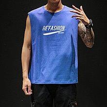 2019夏季印花背心男士加肥大尺碼運動休閒無袖T恤韓版潮流胖子男裝