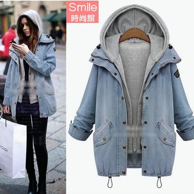 【V2672】SMILE-牛仔時尚.兩件式連帽牛仔外套