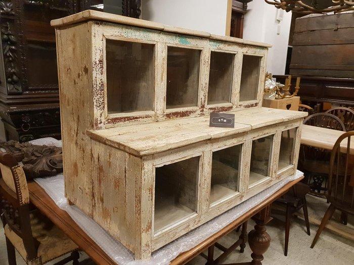 【卡卡頌 歐洲跳蚤市場/歐洲古董】※清倉特價※階梯式展示櫃 可掀 特殊刷色 可坐式玻璃櫃 收納櫃  ca0181✬