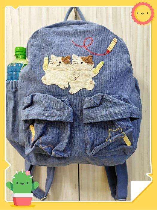 ? 【日本CARA卡拉貓】?卡拉貓後背包淡藍色純棉高35*寬30*厚12cm