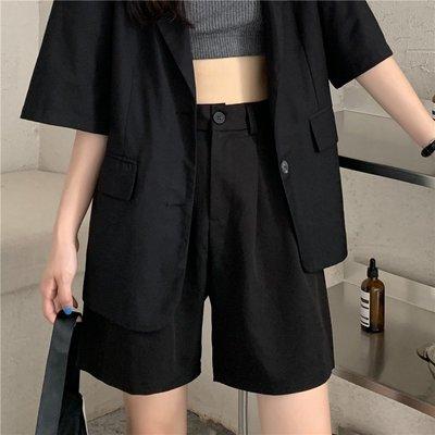 短褲 牛仔褲 黑色西裝短褲女2020新款夏季高腰寬松顯瘦闊腿休閑港味直筒五分褲