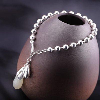 加恩S925純銀飾品原創設計時尚郁金香和田玉手鏈-jen56