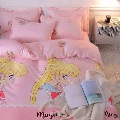 人氣卡通-美少女戰士款 月野兔 2019卡通春夏版床包4件組(被套+床單+枕套) 親膚棉質柔軟舒服  平價便宜cp值高
