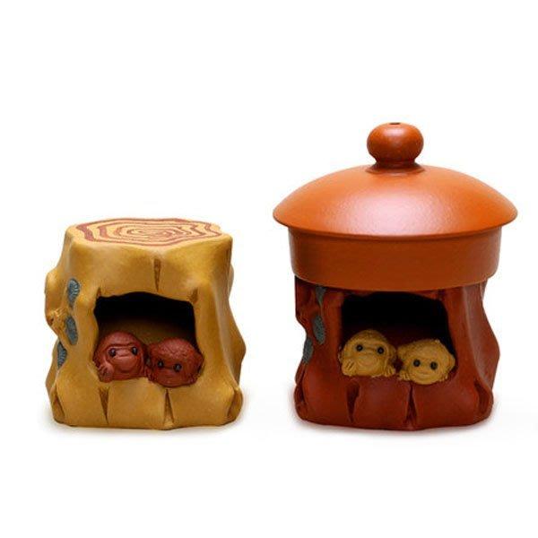 5Cgo【茗道】含稅會員有優惠 38194859032 紫砂雙猴壺蓋托茶寵茶玩蓋置蓋承蓋擱宜興手工茶盤擺件功夫茶具配件