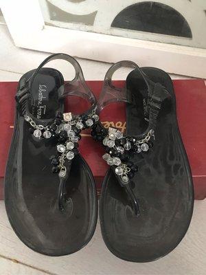 正品二手Salvatore Ferragamo pvc 串珠涼鞋 7號 黑色