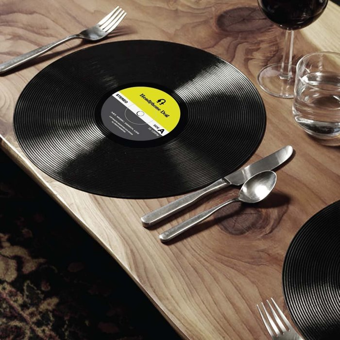 個性黑膠唱片造型 餐墊/桌墊x2片入(普普黃灰)