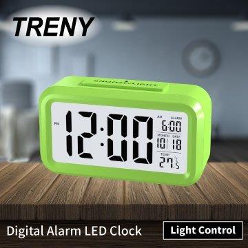 【TRENY直營】LED光控彩色鐘-綠 靜音時鐘 電子鐘 光感鬧鐘 貪睡 聰明鐘 LED鬧鐘 白色背光 HD-G-6