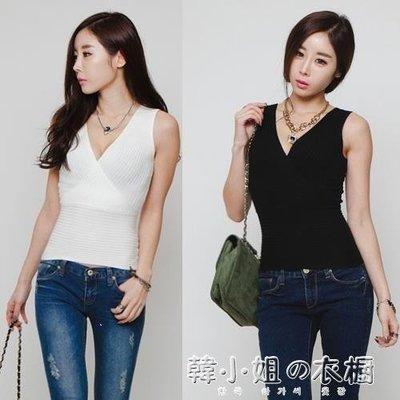 ZIHOPE 韓版職業OL女裝針織交叉V領輕熟打底針織衫背心無袖ZI812