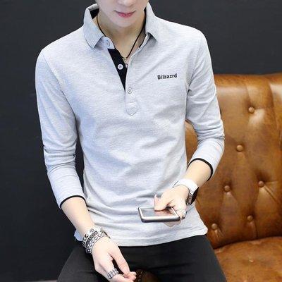 t恤男士長袖新款 個性潮男春秋裝襯衫領棉質韓國修身薄款恤 全館免運