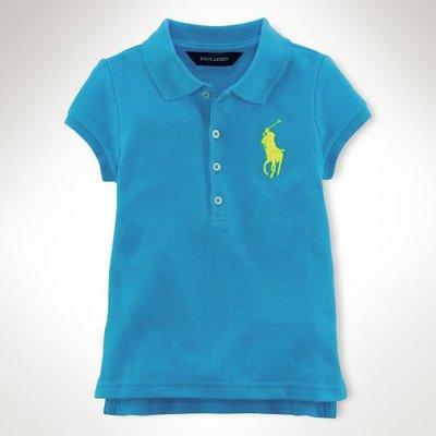 Polo Ralph Lauren 小女孩大馬天空藍網眼短袖Polo衫(6X) (34783) ~全新正品