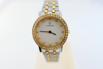 [吉宏精品交流中心]ETERNA 綺年華 半金 原鑲鑽石 石英 女錶
