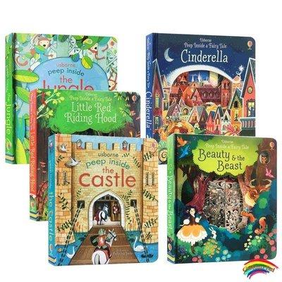 Usborne 英文原版Peep Inside A Fairy Tale 偷偷看里面系列5本Cinderella Little Red Riding Hood機