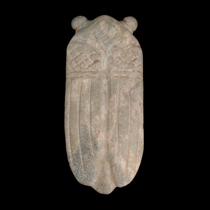《博古珍藏》天然青黃玉蟬(知了)擺件.413公克.紅山文化文物.老鉈工.感恩特賣會.超值回饋