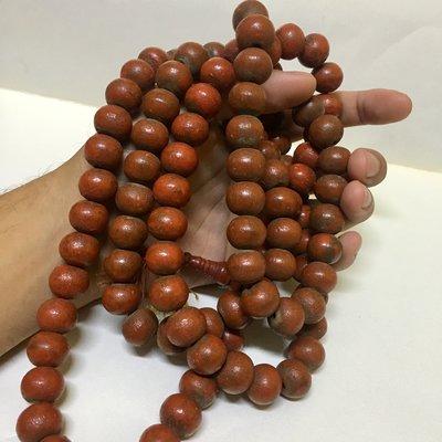 緬甸古董木珠 老漆器沉香108顆念珠 15mm (橘色為漆器)