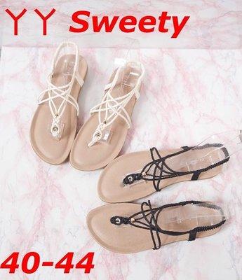 ☆(( 丫 丫 Sweety )) ☆。大尺碼女鞋。復古簡約平底羅馬涼鞋40-44(D583)下標時以即時庫存為主