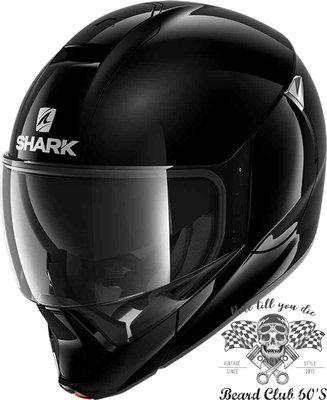 ♛大鬍子俱樂部♛ SHARK ® Evojet Blank 法國 復古 Jet 可掀式 可樂帽 安全帽 亮黑色