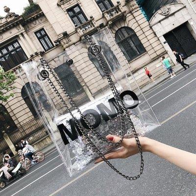 YEAHSHOP 托特包 時尚字母透明大包包女夏季新款百搭單肩包韓版鏈條斜挎托特包601403Y185