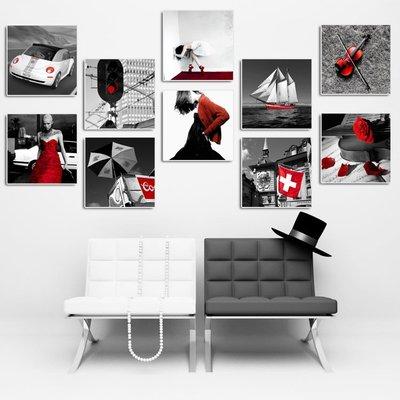 掛畫 裝飾畫 背景墻 唯美為家裝飾畫zhuangshihua無框畫簡約掛畫浪漫懷舊客廳 黑白紅 木子潮衣閣 台北市