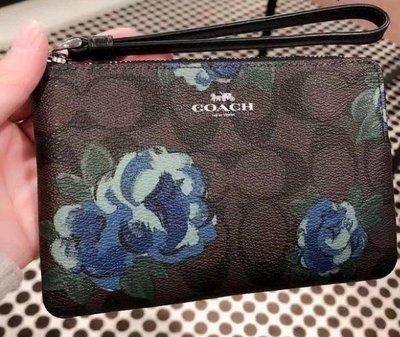 (Outlet特惠)COACH 39150 新款女士花朵拉鏈手拿包 零錢包 附購買證明