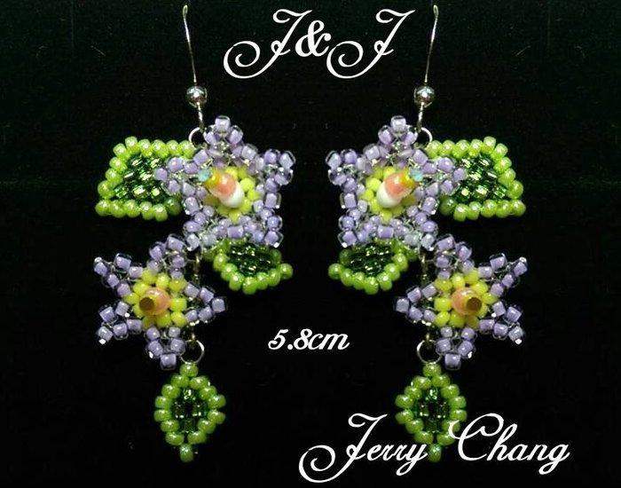 J&J精品花現甜姐兒~珠寶編織亮麗花葉耳環~粉紫色款