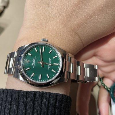勞力士Rolex Oyster Perpetual 入門級首選 性價比極高 情侶搭配極佳 水藍/綠色💜