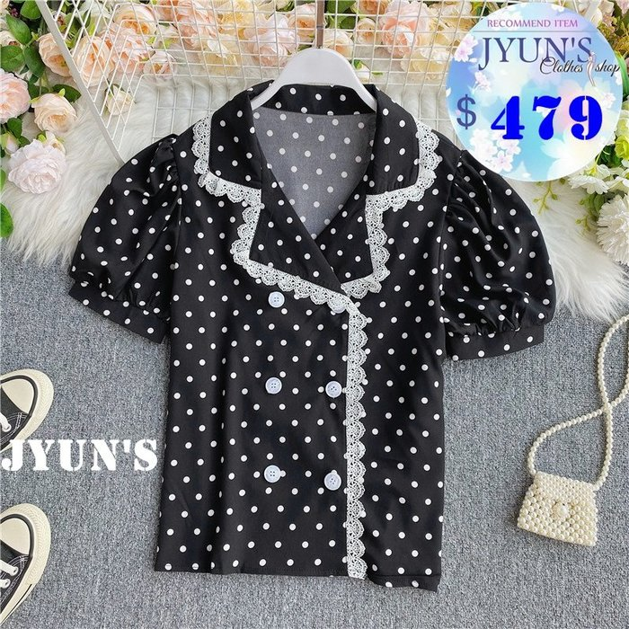 JYUN'S 夏季新款百搭復古波點點蕾絲拼接蕾絲花邊襯衫減齡泡泡袖少女上衣西裝領上衣 2色 預購