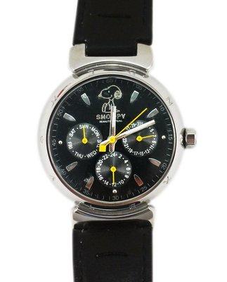 【卡漫迷】 Snoopy 手錶 黑 有日曆功能 六折 ㊣版 日期 史努比 史奴比 女錶 男錶 多功能 星期 中性錶