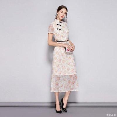 中大尺碼 寬鬆改良式旗袍復古民  古月...