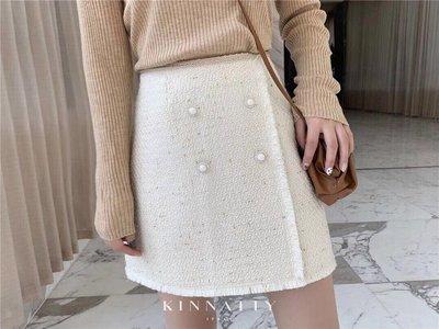 PapaDarling 20SS 歐美設計師品牌 時尚小香風珍珠鑽釦鬆緊腰羊毛短裙 黑色 白色