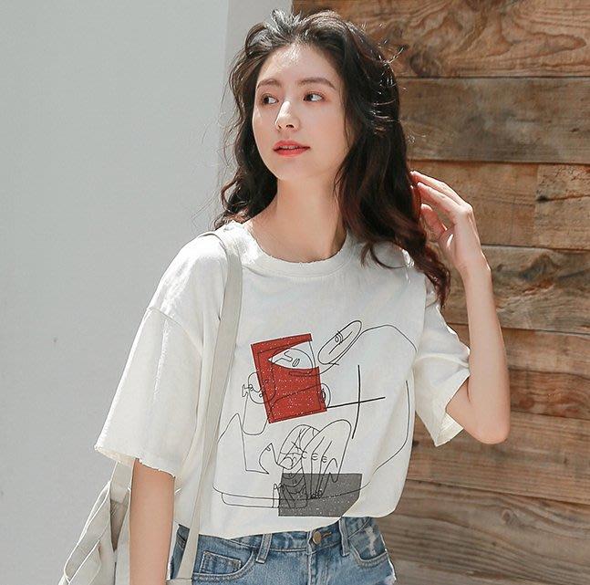 SeyeS  韓妞街頭印象派塗鴉抽象印花寬鬆長版T恤