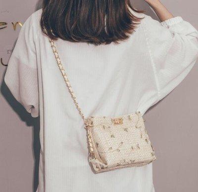 鏈條包 草編小包包 蕾絲鏈條斜挎包 斜背包 側背包 編織水桶包—莎芭
