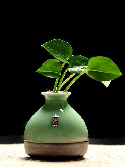 龍泉青瓷創意擺件手工個性時尚小花器家居裝飾品水培花插花瓶