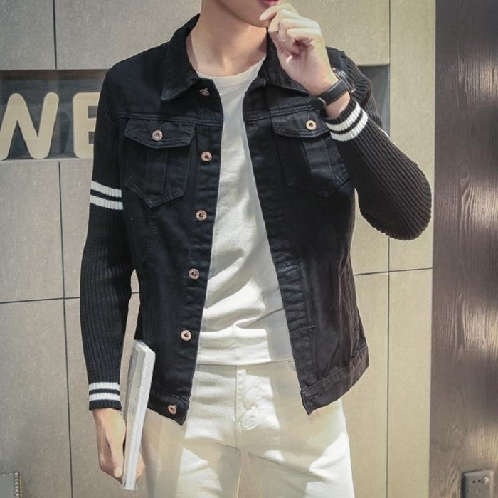 日繫牛仔夾克男士加肥加大碼潮外套拼接針織袖牛仔衣
