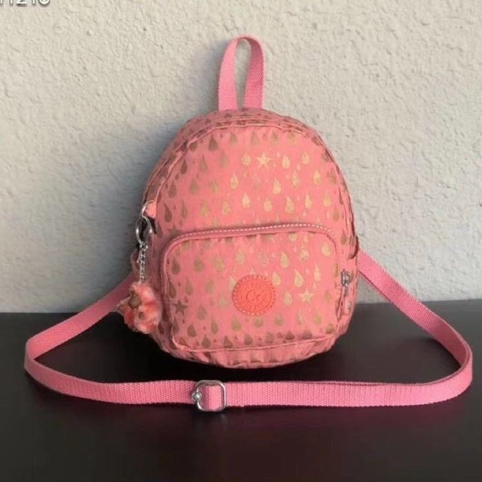 Kipling 猴子包 mini 12673 粉色金點 燙金 多用肩背斜背輕量雙肩後背包 小號 防水 限時優惠