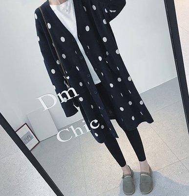 ☆Bubble Lady ☆  【E714】寬鬆加厚點點針織中長罩衫