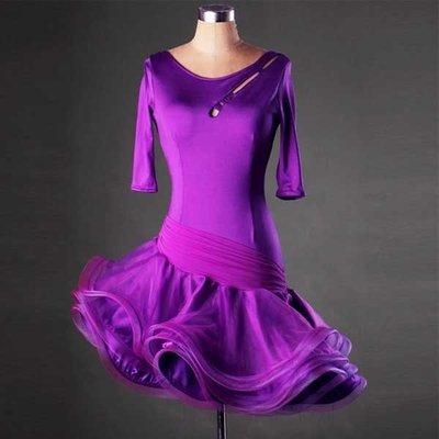 5Cgo【鴿樓】會員有優惠 520870820579 拉丁舞比賽連衣裙 拉丁舞表演服成人女 拉丁舞服裝連衣裙 半身裙