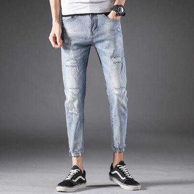 男牛仔褲窄管褲 破洞九分褲男裝潮流韓版小腳褲子t722
