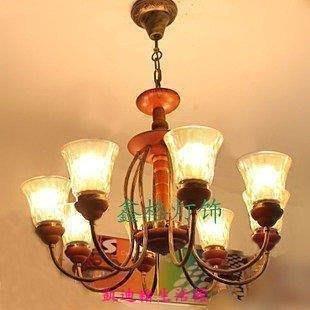 【凱迪豬生活館】歐式復古木藝吊燈地中海鐵藝客廳燈臥室燈美式鄉村餐廳燈 吧燈具KTZ-200991