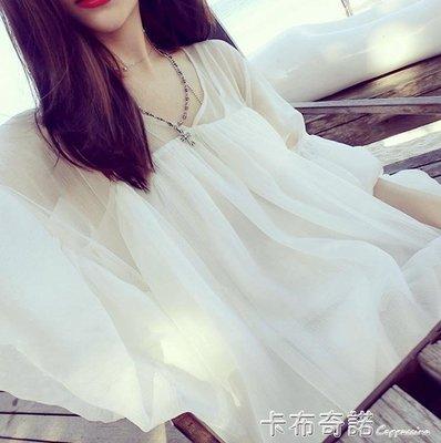 夏天防曬衣服女學生洋氣小衫韓版潮超仙娃娃雪紡衫女氣質百搭上衣